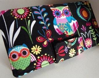 Euro Owls Handmade Long vegan Wallet  BiFold Clutch or half size unisex wallet