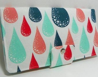 SALE - Falling raindrop dew drop -Prince Charming  Aqua -Handmade vegan Long Wallet BiFold Clutch