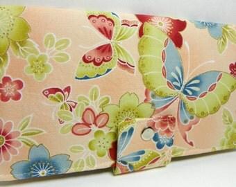 sale Handmade Long Wallet  BiFold Clutch - Oriental Butterfly