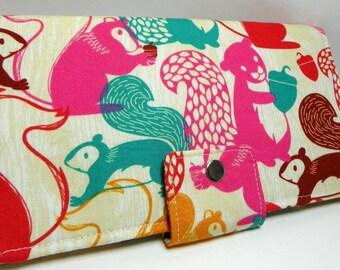 Handmade Long Wallet  BiFold Clutch - vegan wallet- Woodland Nutty Squirrels or half size unisex wallet