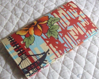Will ship after 12/26/15 -Koto in blue by Alexander Henry checkbook cover\/ wallet