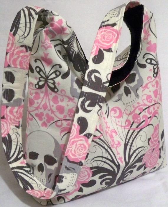 Regent Skull by Alexander Henry Handmade Slouch Bag in pink