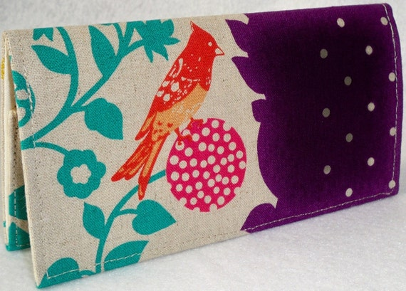 Birds on a Perch in purple - ECHINO Japanese Handmade checkbook cover or wallet