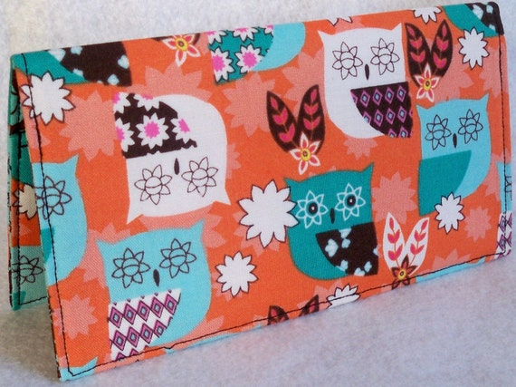 Starry eyed Owls Handmade checkbook cover - wallet or coupon holder