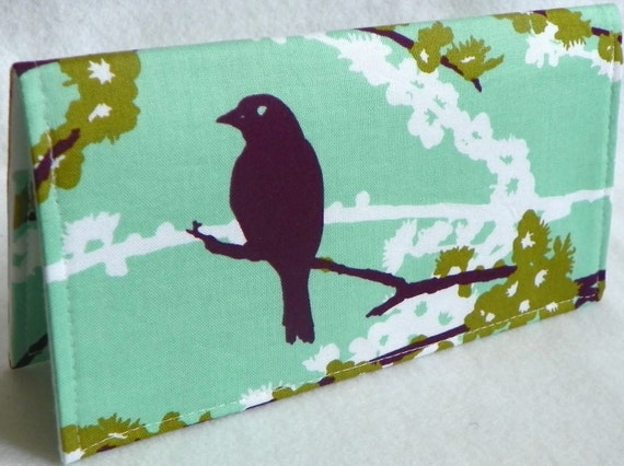 Sparrows in Plum Mint Handmade Vegan checkbook cover / wallet  Aviary 2