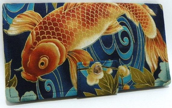 Imperial Koi Tranquil Golden Pond - Handmade Long Wallet BiFold Clutch