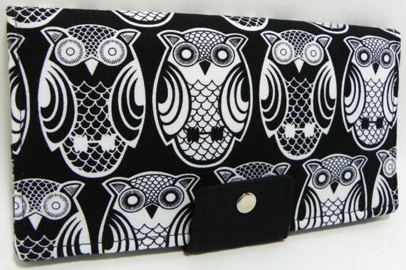 Owls on Black Handmade Long Wallet  BiFold Clutch