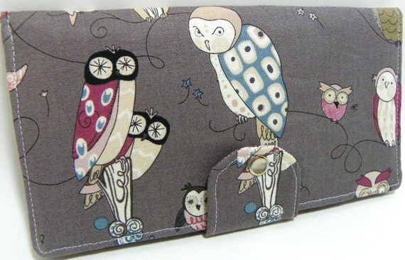 Owl Handmade Long Wallet  BiFold Clutch - Vegan Wallet - Spotted Owl Fabric in Smoke