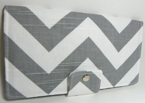 Handmade Long Wallet  BiFold Clutch Chevron Zig Zag gray