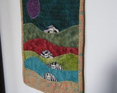 Mini Landscape Quilt Wallhanging Embellishments Cotton Fabric