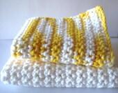 Sunshine Yellow and White Dish Cloth/Wash Cloth Set of 2