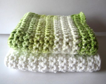 Lots of Green and White Dish Cloth/Wash Cloth Set of 2