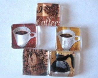 Coffee Lover's Square Magnets Set of 5