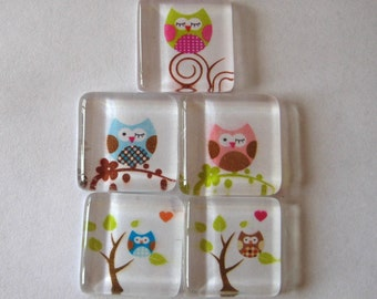 Cute and Fun Owl and Tree Square Glass Magnets Set of 5