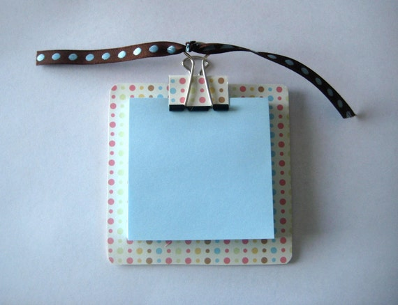 Small Colorful Polka Dot Post It Note Holder