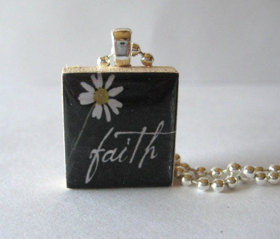 Faith with Flower Scrabble Tile Necklace