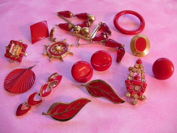 Vintage Eighties Red Rhinestone Enameled Gold Tone Craft Lot Destash