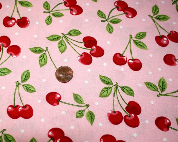 COTTON FABRIC DOTS WITH RED CHERRIES ON PINK, 1 YD X 44 WD, MORE AVAILABLE