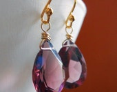 Kunzite quartz plum earrings, VAMP Kunzite Quartz Pear Shaped earrings, RARE AAA quality, plum earrings,  gift idea, fall colors