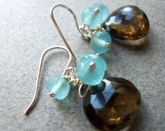 Blue Smoke Earrings smokey quartz and apatite