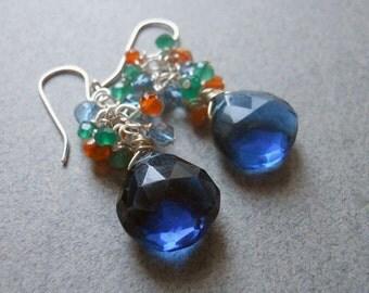 Block Party Kyanite blue quartz cluster earrings