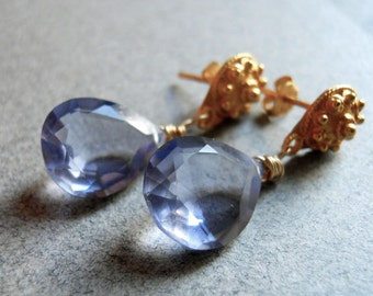 Ceylon Blue Quartz Post Earrings RARE AAA quality