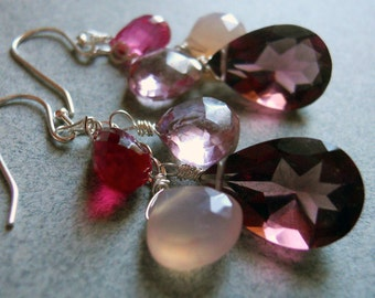 Christmas earrings, Plum earrings, Plum quartz earrings, Candy Jar Plum quartz and chalcedony earrings, Marsala earrings
