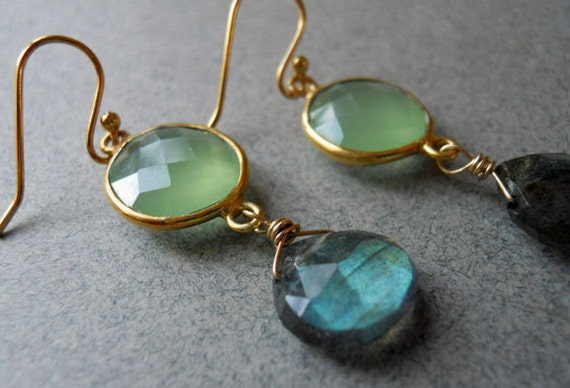 Blue and Green Earrings, Chalcedony and Labradorite Earrings, - Stop and Stare