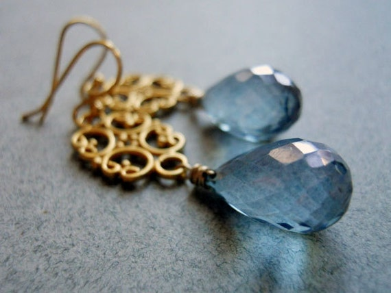 Items similar to I'm Ready For My Closeup Blue Quartz Chandeliers on Etsy