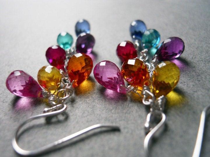 Multi color quartz teardrop earrings - Goody Goody Gumdrops - $65.00 USD