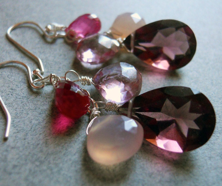 Candy Jar Plum quartz and chalcedony earrings - $68.00 USD