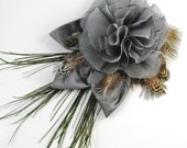 Silver grey chiffon silk flower decorated with peacock and  pheasant feathers