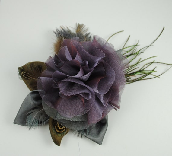 Amethyst  Silk Flower Brooch/ Fascinator, decorated with peacock feathers