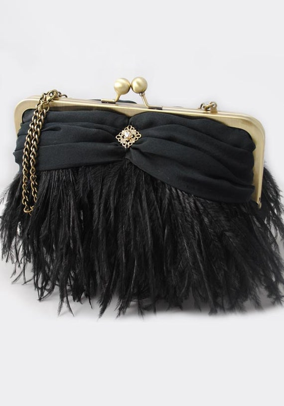 Black Ostrich Feather Evening Clutch