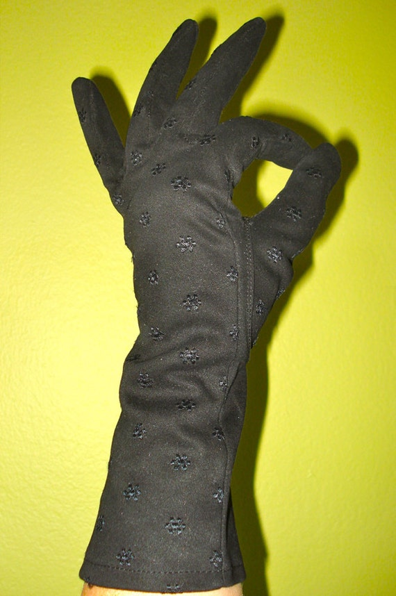 Black Embroidered Evening Gloves - Size 7 - Cotton