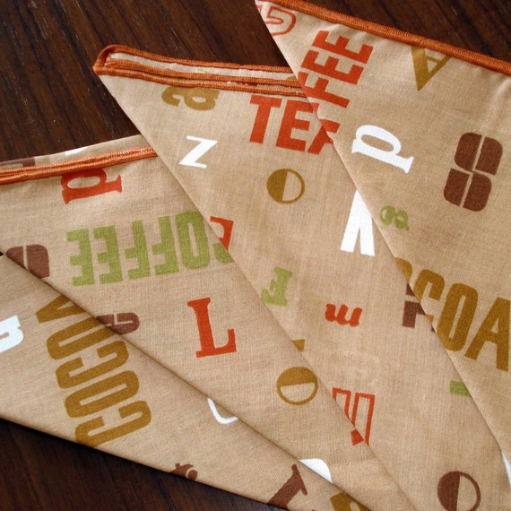 Retro 70s Style - Coffee Tea - Invite Me - Vintage Cloth Napkins - Set of Four