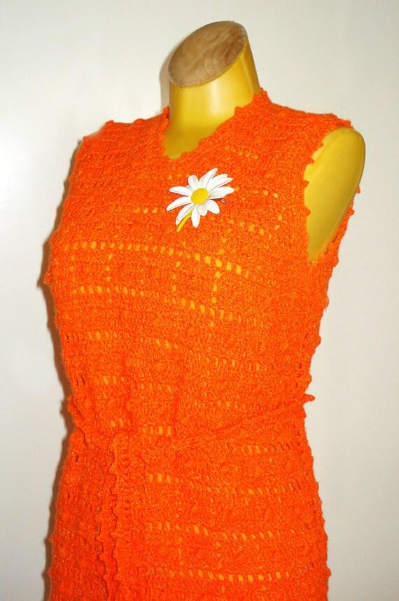 Mod Crocheted Dress - Bright Orange Knit Sheath with Slip - Bombshell Dress