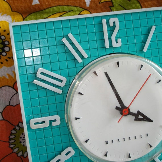 Kitchen Clock Retro Turquoise Westclox