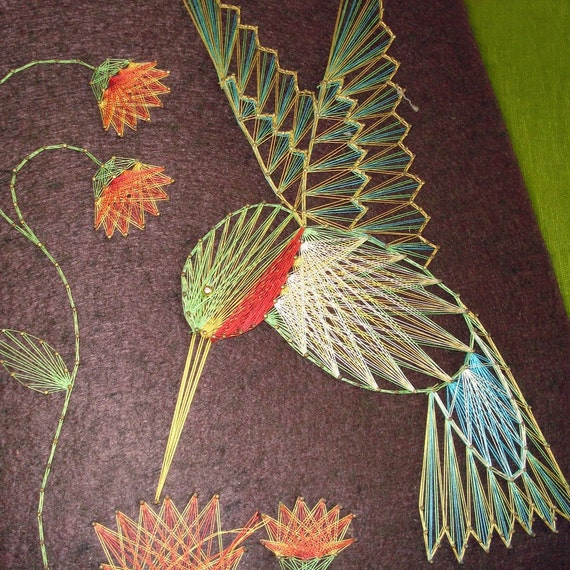 String Art Hummingbird And Flowers
