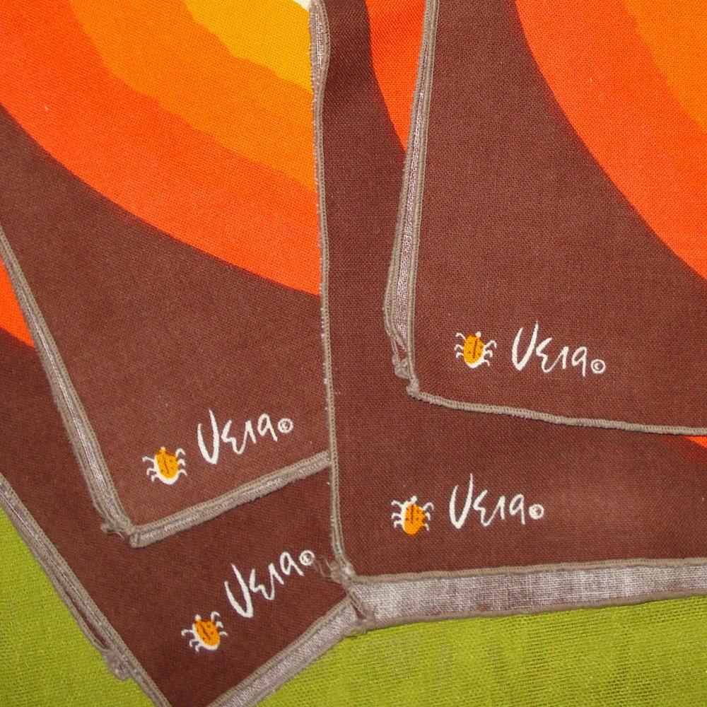 vintage vera cloth napkins ladybug logo orange by vintagedame