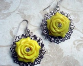 CLEARANCE Sunshine Yellow Rose Earrings