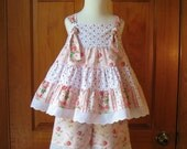 Toddler girl tiered knot top and shorts pink roses shabby chic Size 2/2T