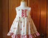 Baby girl twirly sundress with bloomer/diaper cover deep pink rose bouquets on ecru Size 18Mo. Ready to Ship