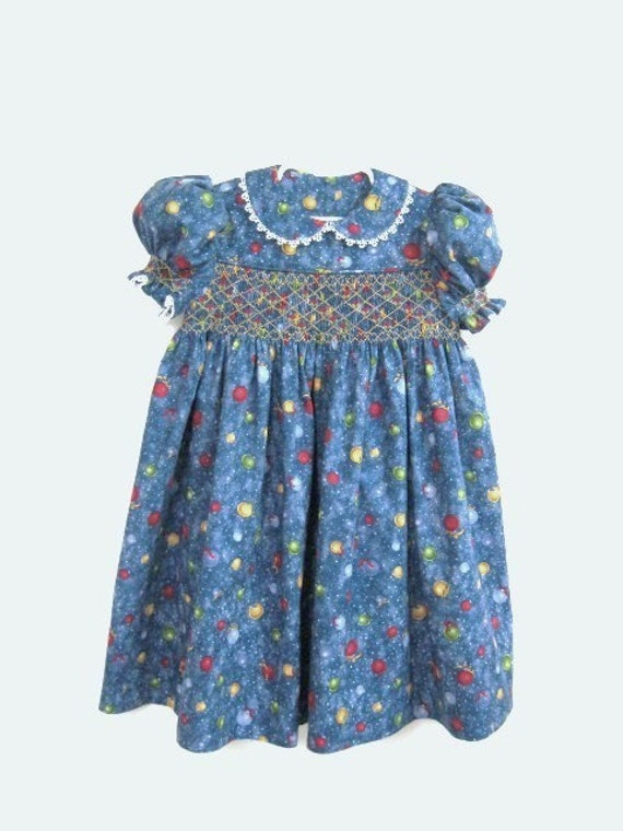 Clearance hand smocked dress colorful christmas balls on blue size 4