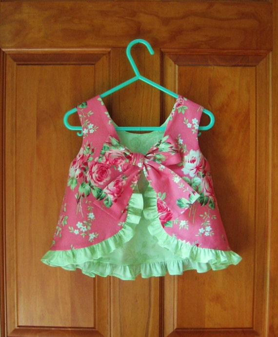 Baby girl ruffled top & bloomers shabby chic pink roses  Size 18/24 Mo.