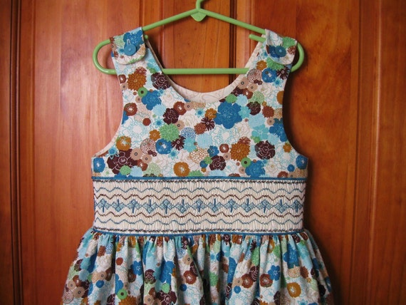 Girl hand smocked dress /jumper shades of teal, aqua & rich brown size 5