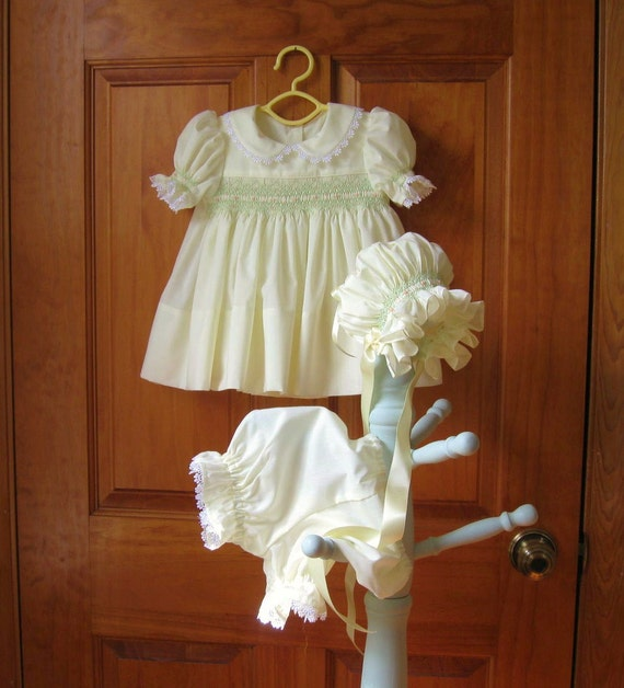 Baby girl hand smocked yellow dress, bonnet, bloomers/diaper cover Size 6Mo.