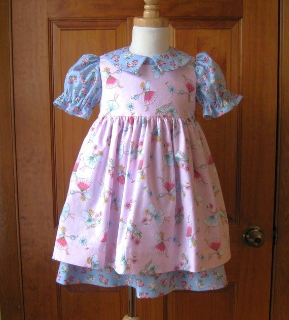 Girl toddler pink fairy pinafore over blue floral dress Size 2T Ready to Ship