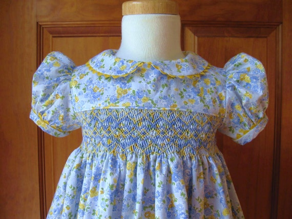 Baby girl toddler hand smocked dress blue & yellow floral Size 24Mo/2T Ready to Ship