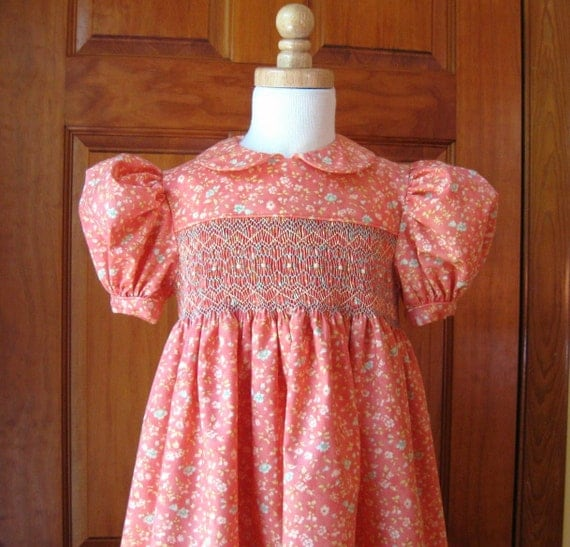 Girl toddler hand smocked dress coral with aqua & cream flowers Size 4/4T
